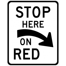 Stop Here On Red (curved arrow)