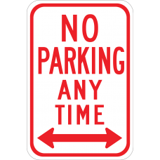 No Parking Any Time Right Double Arrow